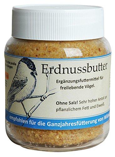 Luxus-Vogelhaus 24073 Hochwertige Erdnussbutter im Glas ohne Salz mit erhöhtem Eiweiߟgehalt zur Ganzjahresfütterung von Wildvögeln, 360 g