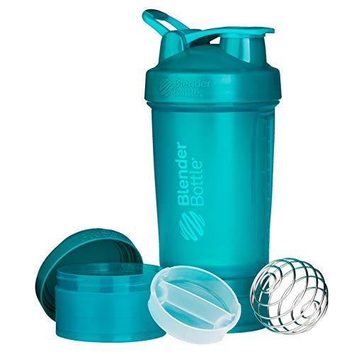 BlenderBottle ProStak Shaker | Protein Shaker| Fitness Shaker | BPA frei | mit BlenderBall | inkl. 2 Containern 150ml & 100ml +1 Pillenfach | 650ml - Teal