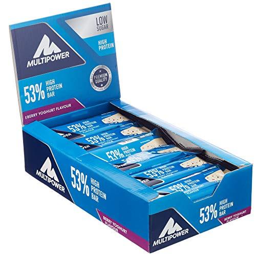Multipower 53% Protein Bar – 24 x 50 g Eiweißriegel Box – Berry Yoghurt – Fitnessriegel mit 53 % hochwertigem Protein – 27 g Eiweiß pro Proteinriegel