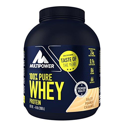 Multipower 100% Pure Whey Protein – wasserlösliches Proteinpulver mit Salty Peanut Caramel Geschmack –  Eiweißpulver mit Whey Isolate als Hauptquelle – Vitamin B6 und hohem BCAA-Anteil – 2 kg