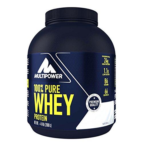 Multipower 100% Pure Whey Protein, lösliches Whey Proteinpulver ohne Aspartam und Gluten, enthält essentielle Aminosäuren (BCAA), Eiweißpulver zum Backen und Kochen, Neutral, 2 kg