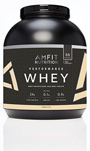 Amazon-Marke: Amfit Nutrition Performance Whey Protein Isolate Eiweißpulver (100% Molkenisolate) mit Vanillegeschmack, 66 Portionen, 1980 g