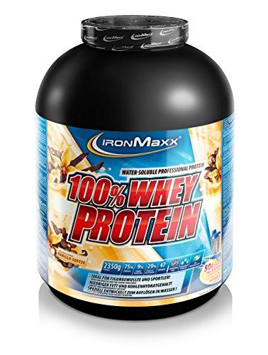IronMaxx 100% Whey Protein – Wasserlösliches Whey Eiweißpulver – Proteinpulver mit Vanilla Coffee Geschmack – 1 x 2,35 kg Dose