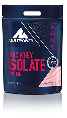Multipower 100% Whey Isolate Protein – 1,59 kg Pack – Proteinpulver enthält essentielle Aminosäuren (BCAA) – 25 g Eiweiß pro Portion – Eiweißpulver für einen Proteinshake – Erdbeer